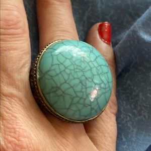 Jewelry - Vintage old Turquoise brass ring